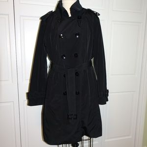 Anne Klein black trench coat with zipout lining